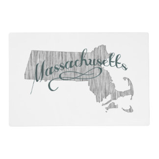 Massachusetts State Typography Placemat