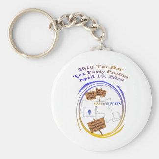 Massachusetts Tax Day Tea Party Protest Keychain