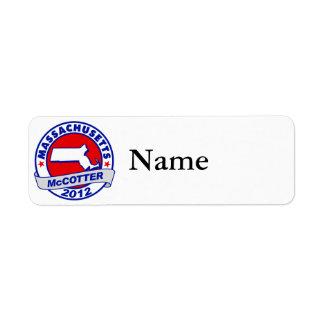 Massachusetts Thad McCotter Return Address Labels