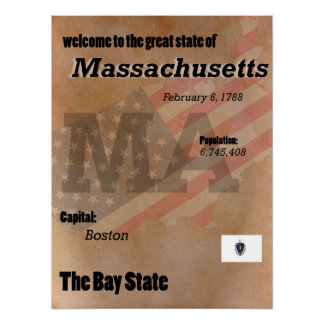 Massachusetts The Bay State Classic Poster