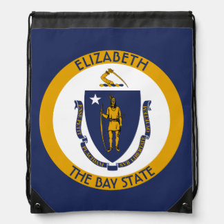 Massachusetts The Bay State Personalized Flag Drawstring Bag