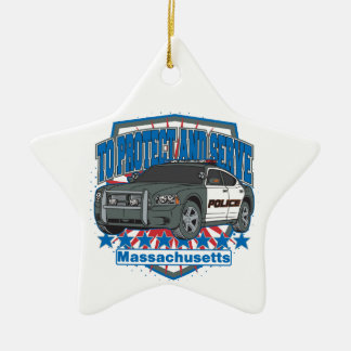 Massachusetts To Protect and Serve Police Car Ceramic Ornament