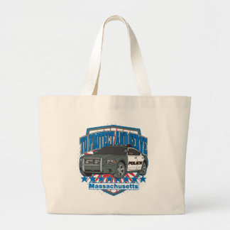 Massachusetts To Protect and Serve Police Car Large Tote Bag