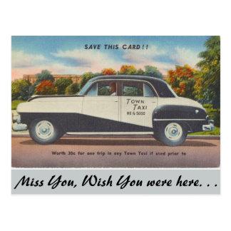Massachusetts, Town Taxi Postcard