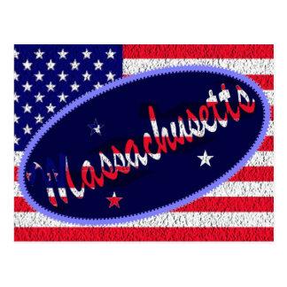 Massachusetts US flag postcard