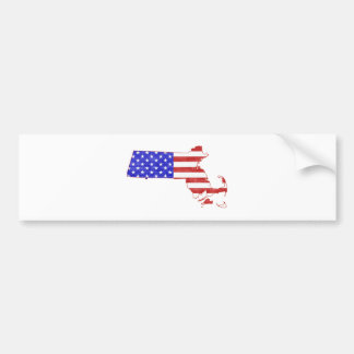 Massachusetts USA flag silhouette state map Bumper Sticker