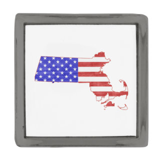 Massachusetts USA flag silhouette state map Gunmetal Finish Lapel Pin