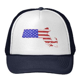 Massachusetts USA flag silhouette state map Hat