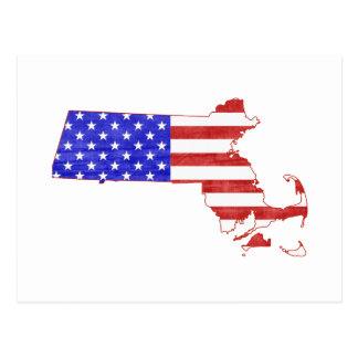 Massachusetts USA flag silhouette state map Postcard