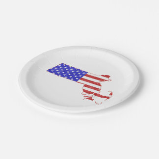 Massachusetts USA flag silhouette state map 7 Inch Paper Plate