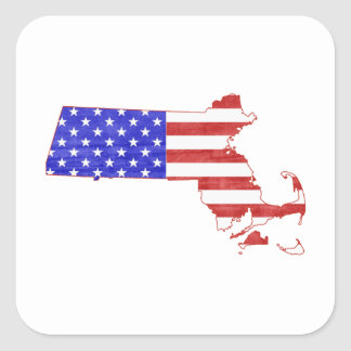 Massachusetts USA flag silhouette state map Square Sticker