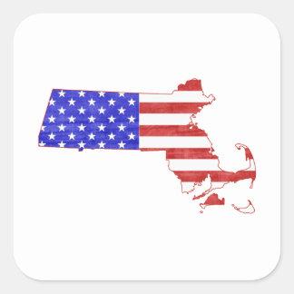 Massachusetts USA flag silhouette state map Square Sticker