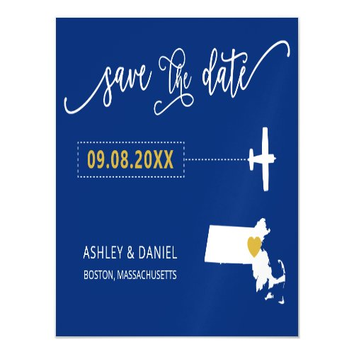 Massachusetts Wedding Save the Date Card Map Magnetic Invitation