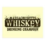Massachusetts Whiskey Drinking Champion Postcards
