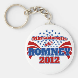 Massachusetts with Romney 2012 Basic Round Button Keychain