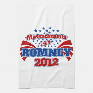 Massachusetts with Romney 2012 Kitchen Towel