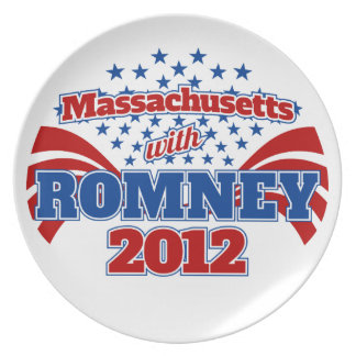 Massachusetts with Romney 2012 Party Plates