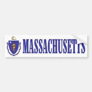 Massachusetts with State Flag Bumper Sticker