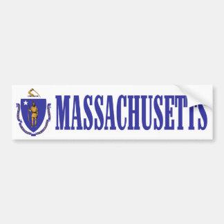 Massachusetts with State Flag Bumper Sticker