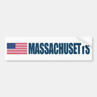 Massachusetts with US Flag Bumper Sticker