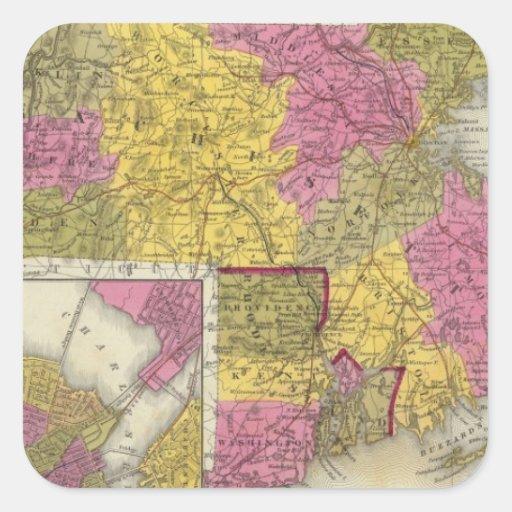 Massachusetts y Rhode Island 2 Calcomanía Cuadradas Personalizadas