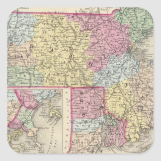 Massachusetts y Rhode Island 2 Pegatina Cuadrada