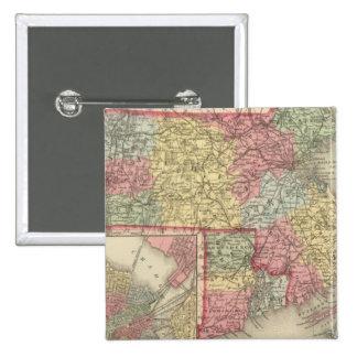 Massachusetts y Rhode Island 2 Pin Cuadrada 5 Cm