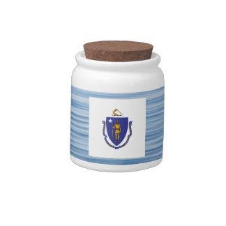 Massachusettsan Flag Floating on water Candy Jar