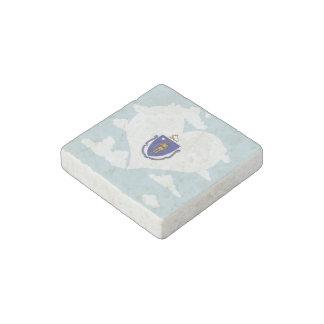 Massachusettsan Flag on a cloudy background Stone Magnet