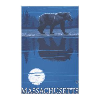 MassachusettsBear en el claro de luna Impresión En Lona Estirada
