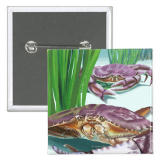 MassachusettsCrab y pescador Pin Cuadrado