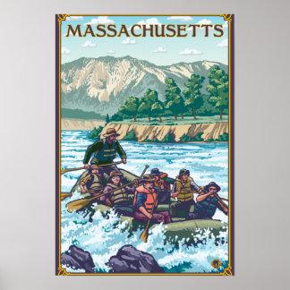 MassachusettsRiver que transporta escena en balsa Póster