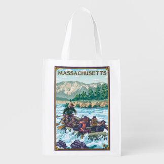 MassachusettsRiver Rafting Scene Reusable Grocery Bag