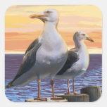 MassachusettsSea Gulls escena Calcomania Cuadradas Personalizadas