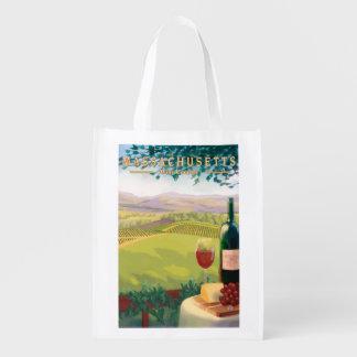 MassachusettsWine Country Scene Reusable Grocery Bag