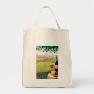 MassachusettsWine Country Scene Tote Bag