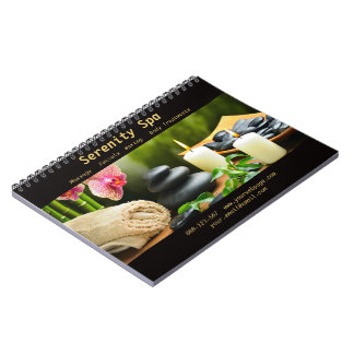 Massage Bamboo Orchid Stones Candle Spiral Notebook