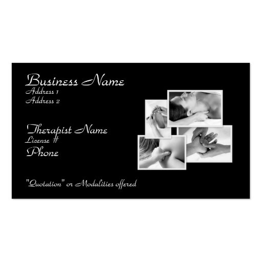 Massage/ Bodywork Therapist Card Business Cards (front side)