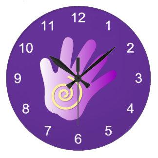 Massage Energy Hand Large Clock