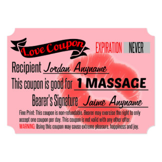 MASSAGE Love Coupon with Lips Card