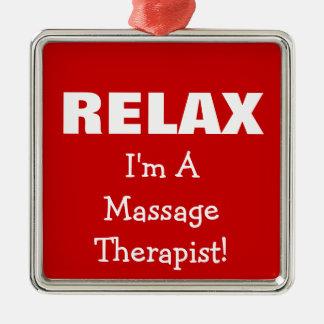 Massage Relax (customizable) Metal Ornament