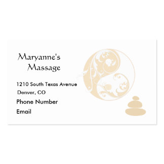 Massage Stones and Embellished Yin and Yang Business Cards