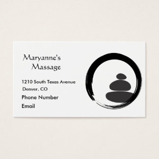 Massage Stones and Enso Circle Business Card