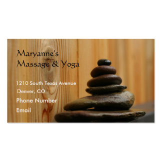 Massage Stones and Wood Business Card