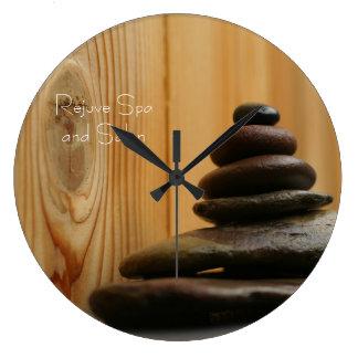 Massage Stones Photo Large Clock