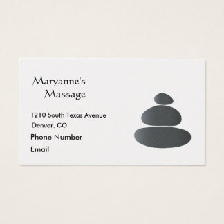 Massage Stones Simple Drawing Business Card