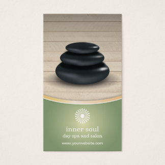Massage Stones Wood Spa Sage Green Appointment Business Card