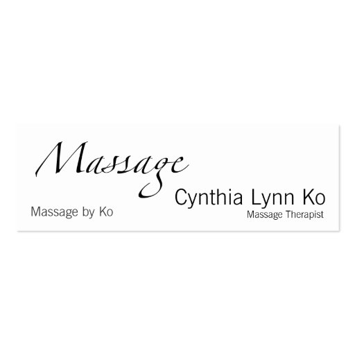 Massage Text Business Card Template : Zazzle