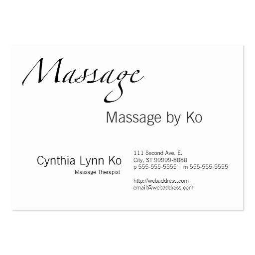 Massage Text Large Business Cards (Pack Of 100)