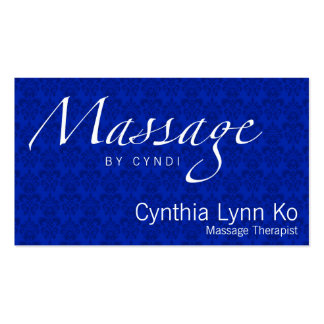 Massage Text on Blue Damask Double-Sided Standard Business Cards (Pack Of 100)